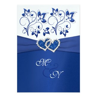 Royal Blue and White Joined Hearts Invitation