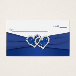 Royal Blue and White Joined Hearts Placecards Business Card