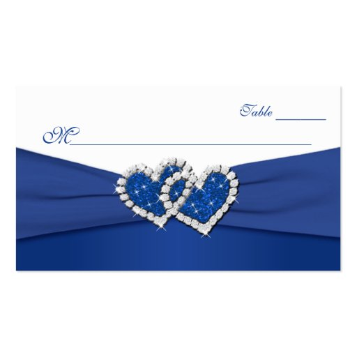 Royal Blue and White Joined Hearts Placecards Business Cards
