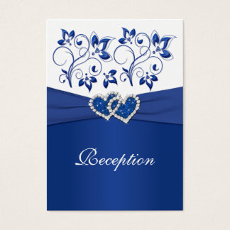 Royal Blue and White Joined Hearts Reception Card