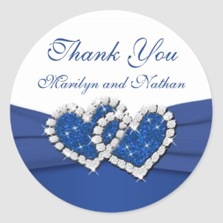Royal Blue and White Joined Hearts Sticker sticker