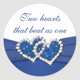 Royal Blue and White Joined Hearts Sticker