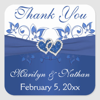 Royal Blue and White Joined Hearts Sticker 2