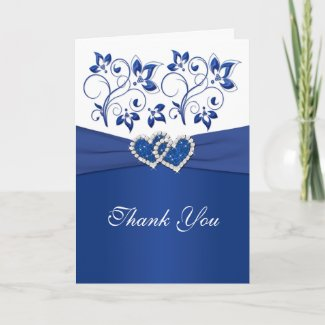 Royal Blue and White Joined Hearts Thank You Card card