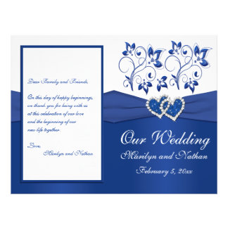 Royal Blue and White Joined Hearts Wedding Program