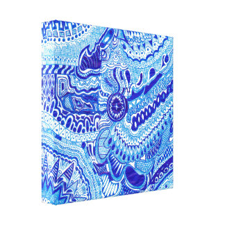 Royal Blue and White Ming style oriental zentangle Gallery Wrapped Canvas