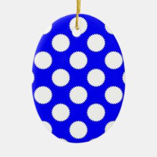 Royal Blue and White Polka Dot Ceramic Ornament