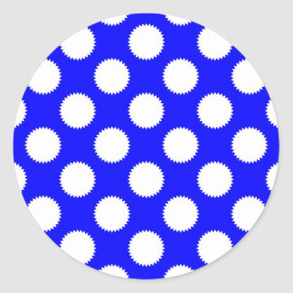 Royal Blue and White Polka Dot Classic Round Sticker
