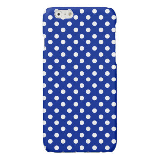 Royal Blue and White Polka Dot Glossy iPhone 6 Case
