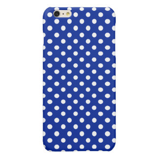 Royal Blue and White Polka Dot Glossy iPhone 6 Plus Case