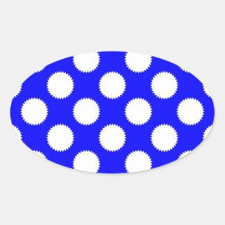 Royal Blue and White Polka Dot Oval Sticker