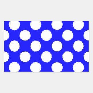 Royal Blue and White Polka Dot Rectangular Sticker