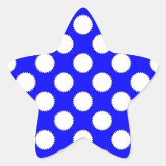 Royal Blue and White Polka Dot Star Sticker