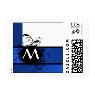 Royal blue and white stamp