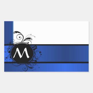 Royal blue and white rectangular sticker