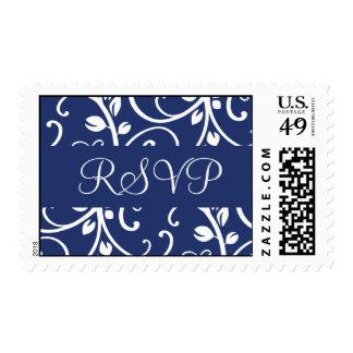 Royal Blue and White RSVP Floral Vine Postage