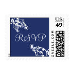Royal Blue and White RSVP Flourish Postage
