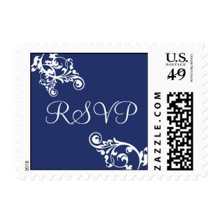 Royal Blue and White RSVP Flourish Postage
