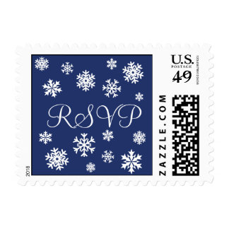 Royal Blue and White RSVP Snowflakes Postage