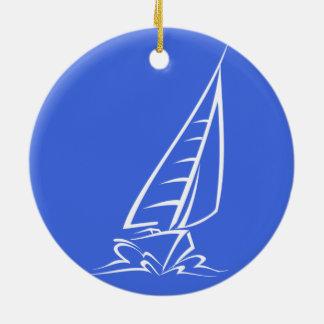 Royal Blue and White Sailing; Sail Boat Ceramic Ornament