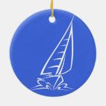 Royal Blue and White Sailing; Sail Boat Christmas Tree Ornaments