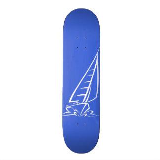 Royal Blue and White Sailing Sail Boat Custom Skate Board