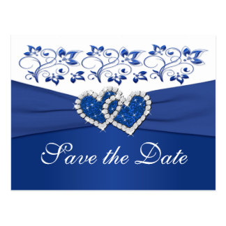 Royal Blue and White Save the Date Card