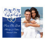 Royal Blue and White Save the Date Photo Card Post Cards