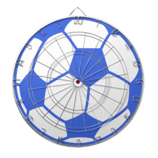 Royal Blue and White Soccer Ball Dartboard With Darts
