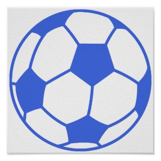 Royal Blue and White Soccer Ball Posters