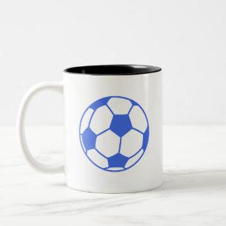 Royal Blue and White Soccer Ball Two-Tone Coffee Mug