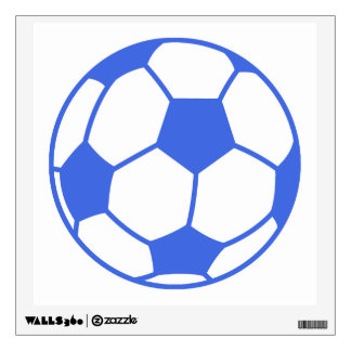 Royal Blue and White Soccer Ball Room Graphic