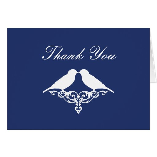 Royal Blue and White Sparrows Thank You Note Stationery Note Card