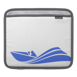 Royal Blue and White Speed Boat iPad Sleeve