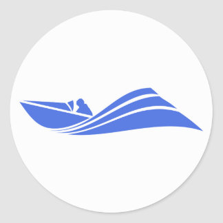 Royal Blue and White Speed Boat Round Sticker