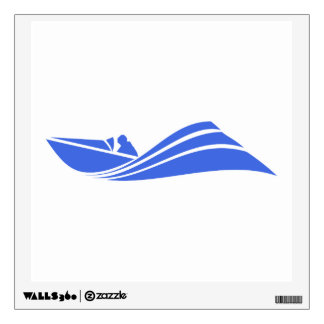 Royal Blue and White Speed Boat Wall Sticker