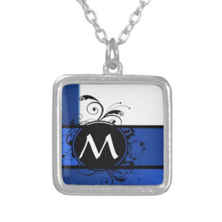 Royal blue and white square pendant necklace