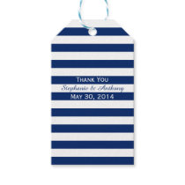 Royal Blue and White Striped Wedding Thank You Gift Tags