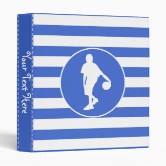 Royal Blue and White Stripes; Basketball Vinyl Binder