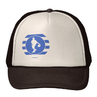 Royal Blue and White Stripes; Basketball Trucker Hat