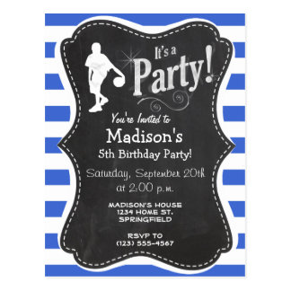 Royal Blue and White Stripes Basketball Post Card