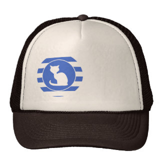Royal Blue and White Stripes; Cat Trucker Hat