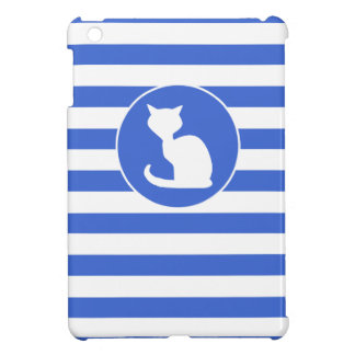 Royal Blue and White Stripes Cat Case For The iPad Mini