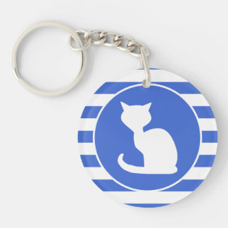 Royal Blue and White Stripes; Cat Acrylic Key Chain