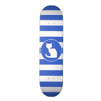 Royal Blue and White Stripes Cat Skate Boards
