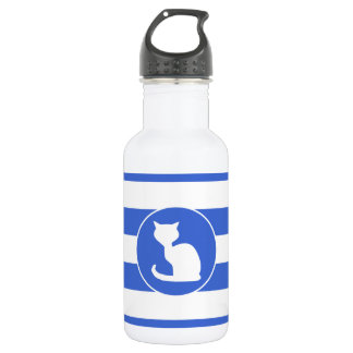 Royal Blue and White Stripes; Cat Water Bottle