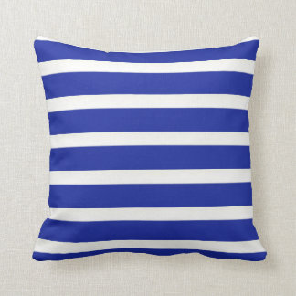 Royal Blue And White  Stripes Cushion Pillows