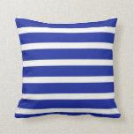 Royal Blue And White  Stripes Cushion Pillows