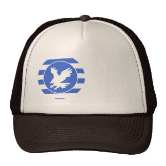Royal Blue and White Stripes; Eagle Trucker Hat