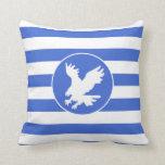 Royal Blue and White Stripes; Eagle Pillow